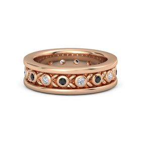Men's 14K Rose Gold Ring with Black Diamond & Diamond