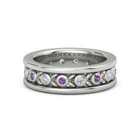 14K White Gold Ring with Amethyst and Diamond