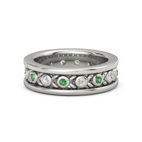 Men's 14K White Gold Ring with Emerald & White Sapphire