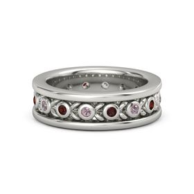Men's 14K White Gold Ring with Rhodolite Garnet & Red Garnet