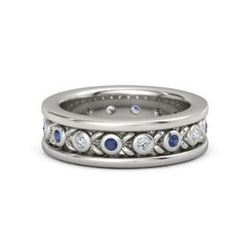 Men's 14K White Gold Ring with Sapphire & Diamond