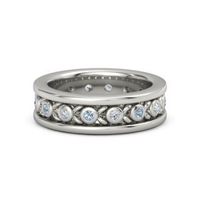 Men's 14K White Gold Ring with Blue Topaz & Diamond