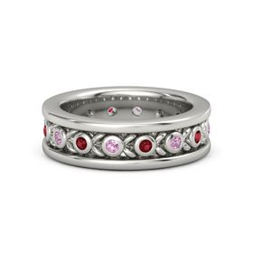 14K White Gold Ring with Pink Tourmaline and Ruby