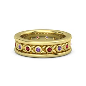 14K Yellow Gold Ring with Amethyst and Ruby
