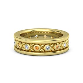 Men's 14K Yellow Gold Ring with Citrine & Diamond