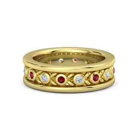 Men's 14K Yellow Gold Ring with Ruby & Diamond