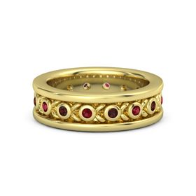 Men's 14K Yellow Gold Ring with Ruby & Red Garnet