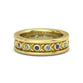 Men's 14K Yellow Gold Ring with Sapphire & London Blue Topaz