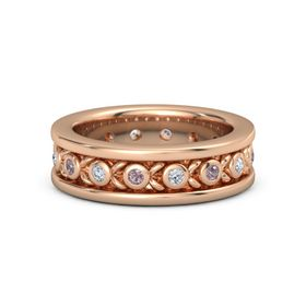 Men's 18K Rose Gold Ring with Rhodolite Garnet & Diamond