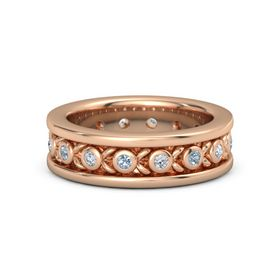Men's 18K Rose Gold Ring with Blue Topaz & Diamond