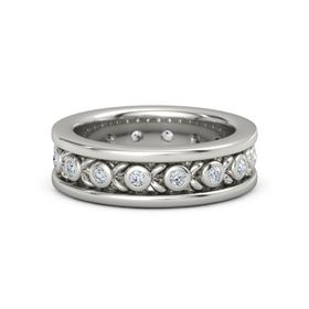 Men's 18K White Gold Ring with Diamond