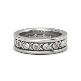 Men's 18K White Gold Ring with Rhodolite Garnet & Diamond