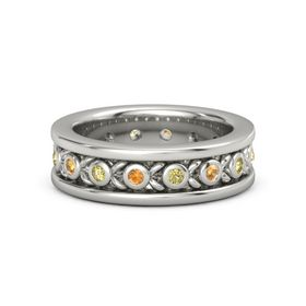 18K White Gold Ring with Citrine and Yellow Sapphire