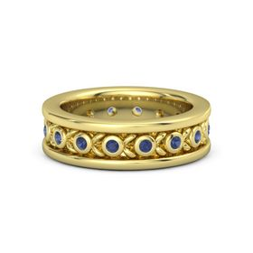 Men's 18K Yellow Gold Ring with Sapphire