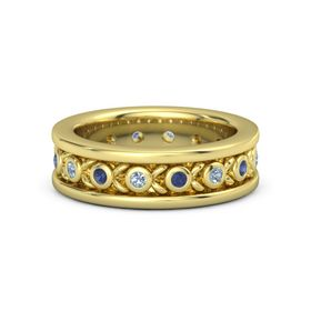 Men's 18K Yellow Gold Ring with Blue Topaz & Sapphire