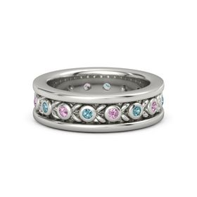 Palladium Ring with London Blue Topaz and Pink Tourmaline