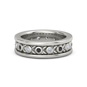 Men's Palladium Ring with Black Diamond & Diamond