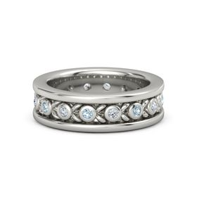 Men's Palladium Ring with Aquamarine & Diamond