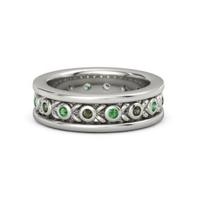 Men's Platinum Ring with Green Tourmaline & Emerald