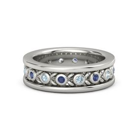 Platinum Ring with Blue Sapphire and Aquamarine