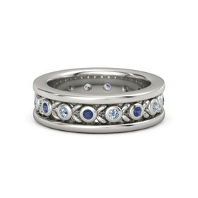 Platinum Ring with Blue Sapphire and Blue Topaz