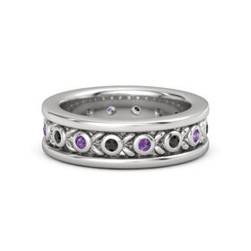 Men's Sterling Silver Ring with Black Diamond & Amethyst