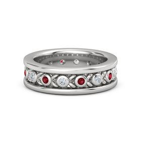 Men's Sterling Silver Ring with Diamond & Ruby