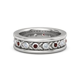 Men's Sterling Silver Ring with Red Garnet & Diamond