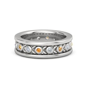 Men's Sterling Silver Ring with Citrine & Diamond
