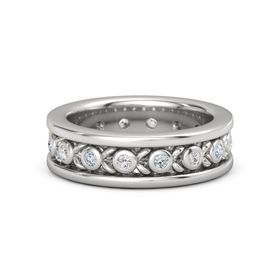 Sterling Silver Ring with White Sapphire and Diamond