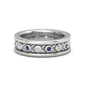 Sterling Silver Ring with White Sapphire and Blue Sapphire