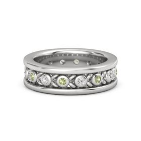 Men's Sterling Silver Ring with Peridot & White Sapphire