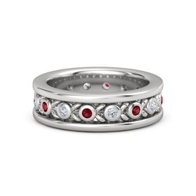 Men's Sterling Silver Ring with Ruby & Diamond