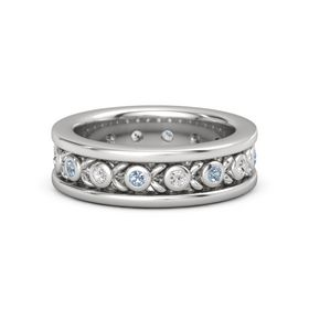 Sterling Silver Ring with Blue Topaz and White Sapphire