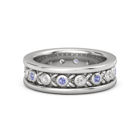 Men's Sterling Silver Ring with Iolite & White Sapphire