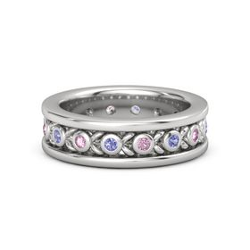 Men's Sterling Silver Ring with Iolite & Pink Sapphire