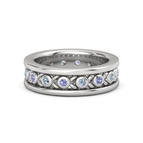 Men's Sterling Silver Ring with Iolite & Blue Topaz