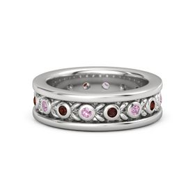 Men's Sterling Silver Ring with Pink Tourmaline & Red Garnet