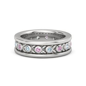 Sterling Silver Ring with Pink Tourmaline and Aquamarine