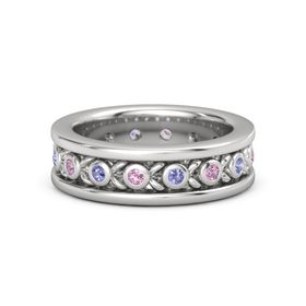 Sterling Silver Ring with Pink Tourmaline and Iolite