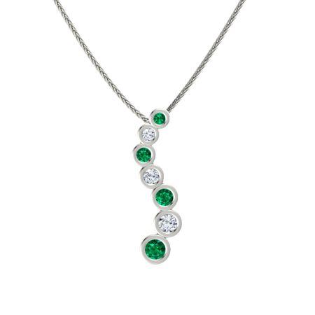 14k white gold necklace with emerald diamond brilliant journey brilliant journey pendant aloadofball Images