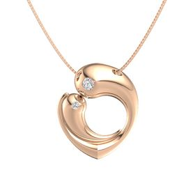 14K Rose Gold Pendant with White Sapphire