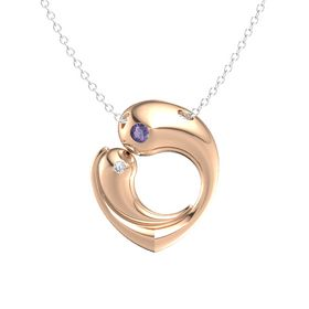 14K Rose Gold Pendant with Iolite and Diamond