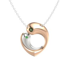 14K Rose Gold Pendant with Green Tourmaline and Emerald