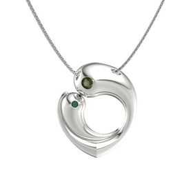 14K White Gold Pendant with Green Tourmaline and Alexandrite