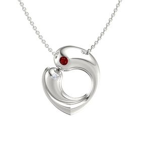 14K White Gold Necklace with Ruby & Diamond