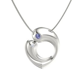 14K White Gold Necklace with Tanzanite & Diamond