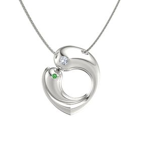 14K White Gold Pendant with Diamond and Emerald