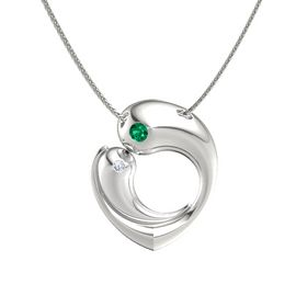 14K White Gold Necklace with Emerald & Diamond