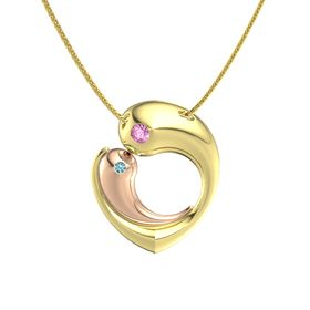 14K Yellow Gold Necklace with Pink Sapphire & London Blue Topaz